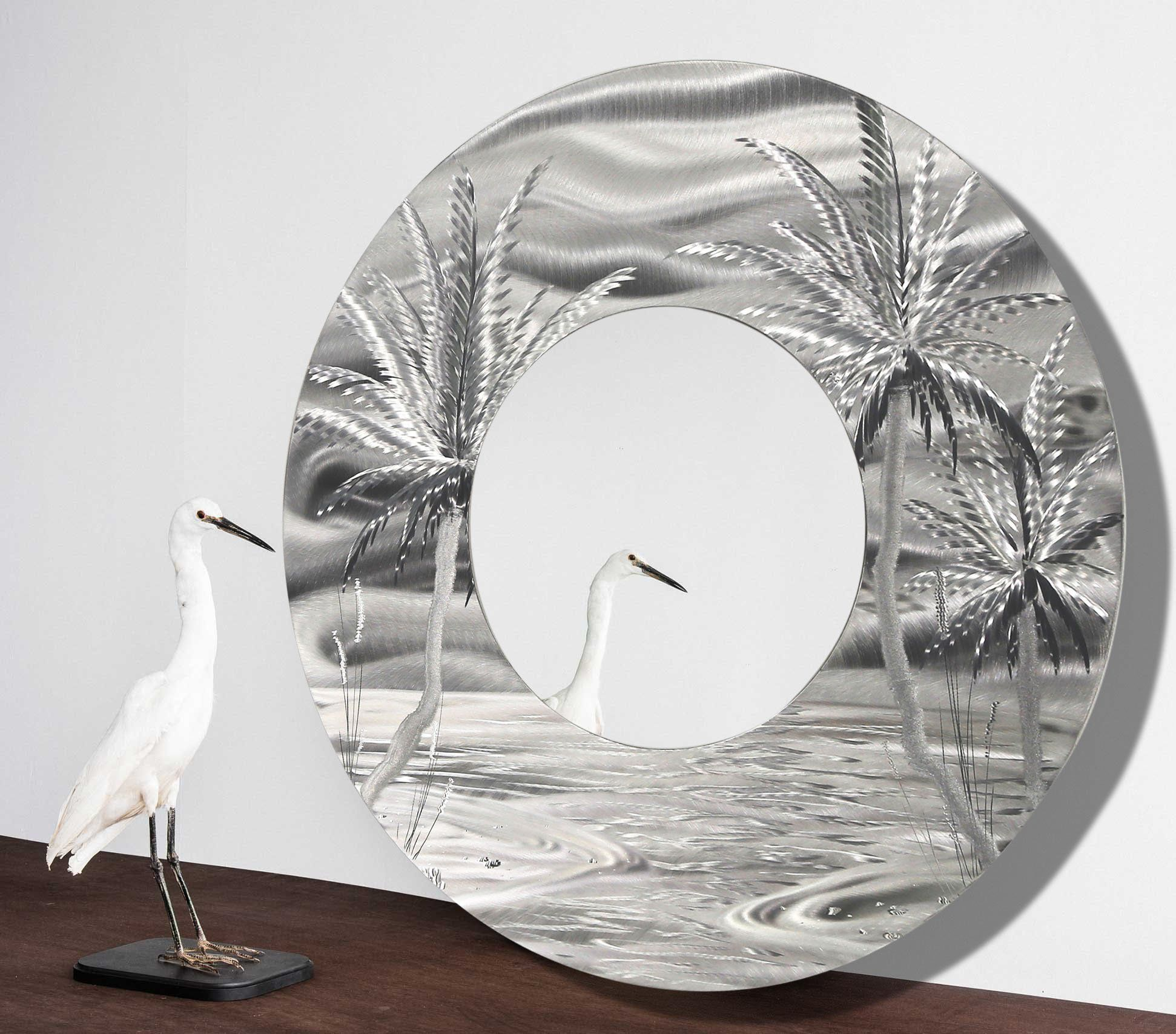 Large Round Beach Inspired Contemporary Metal Wall Mirror  Modern