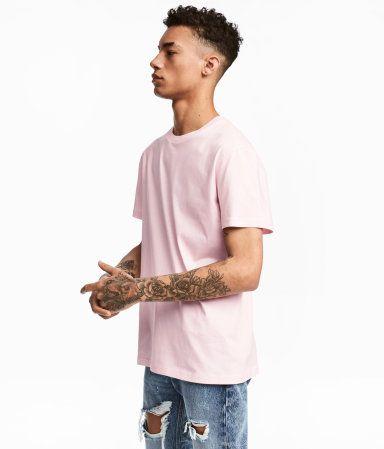 Camiseta con cuello redondo | Rosa claro | Hombre | H&M CO