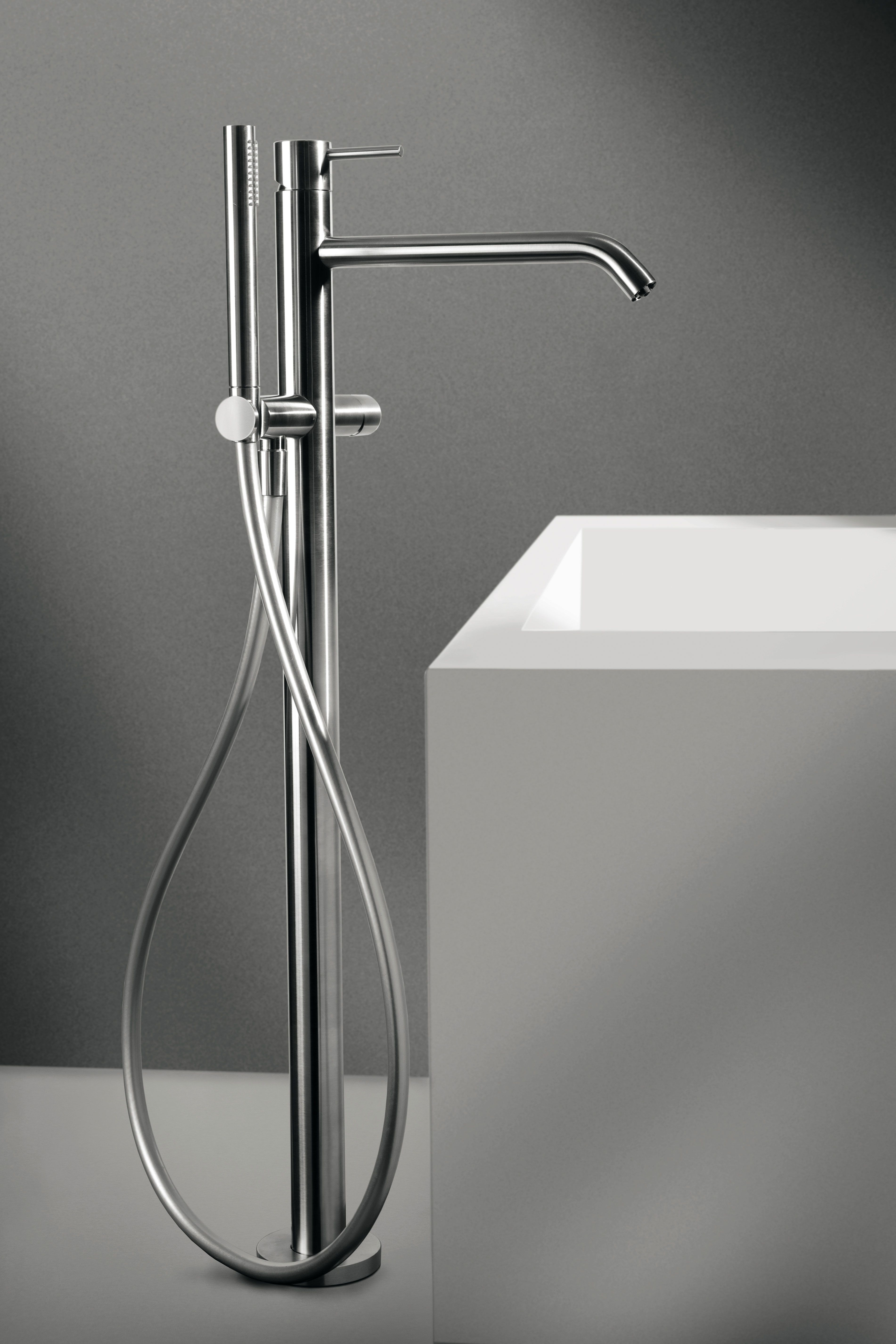 Floor-mounted bath mixer, with diverter and shower set, Brushed ...