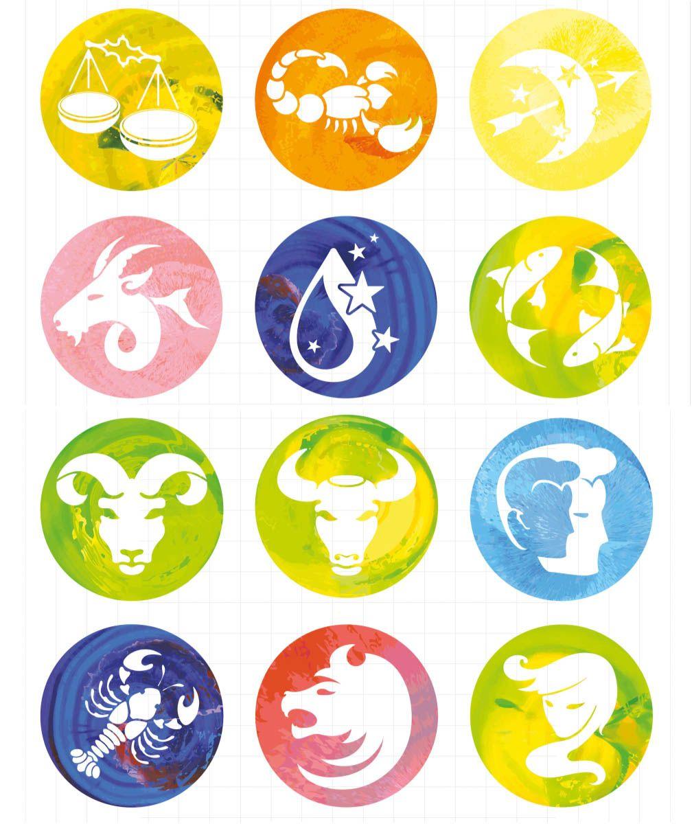 Zodiac signs in circle icon vectors Zodiac signs, Zodiac