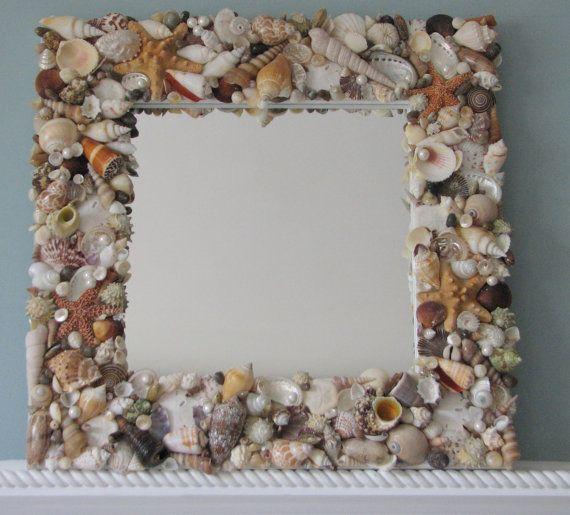 Beach Decor Shell Mirror, Seashell Mirror, Nautical Decor
