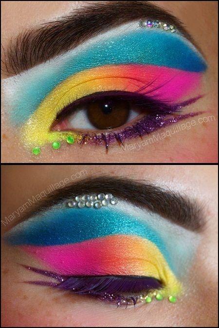 neon eyeshadow and rhinestones Make up Pinterest Colorete y
