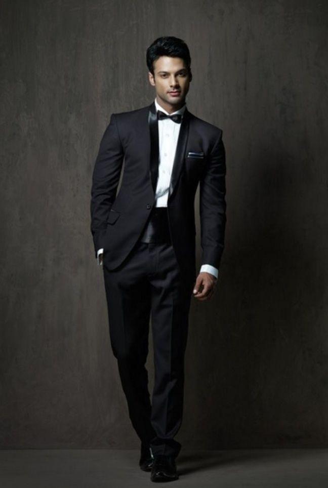 2015 Black Modern Wedding Tuxedos Cheap Mens Suits Shawl Lapel Best ...