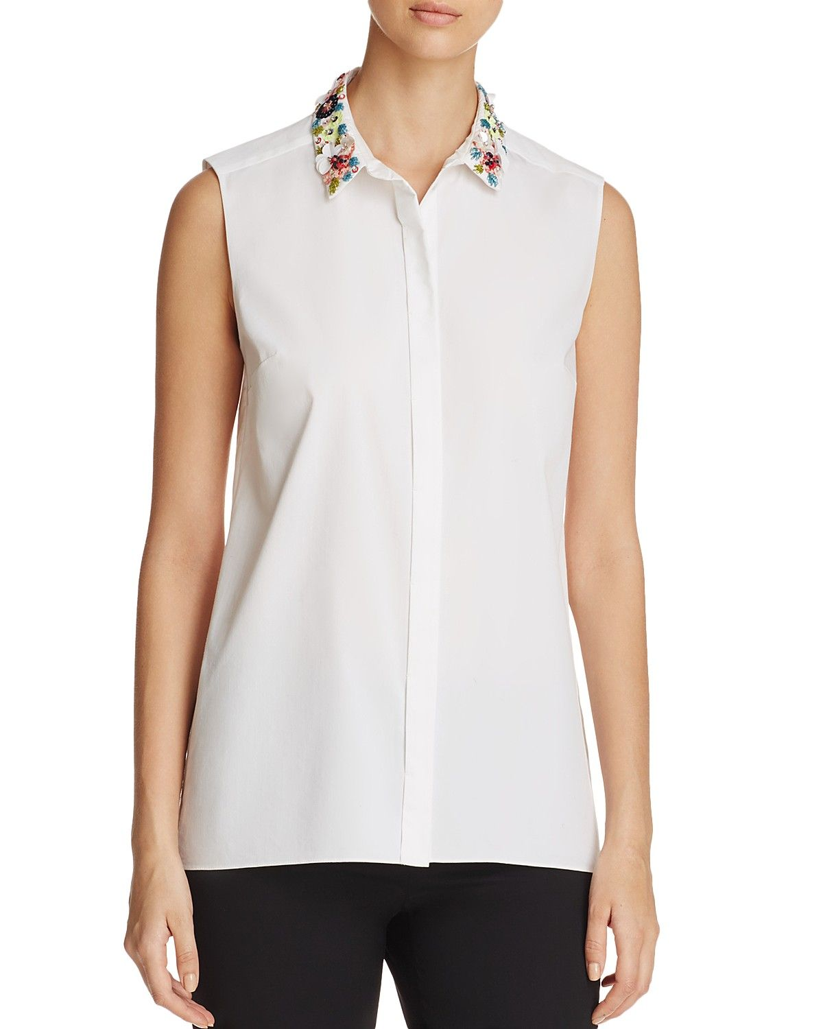 02ce653954a6cf Elie Tahari Carla Embellished Collar Blouse - 100% Exclusive | 100 ...