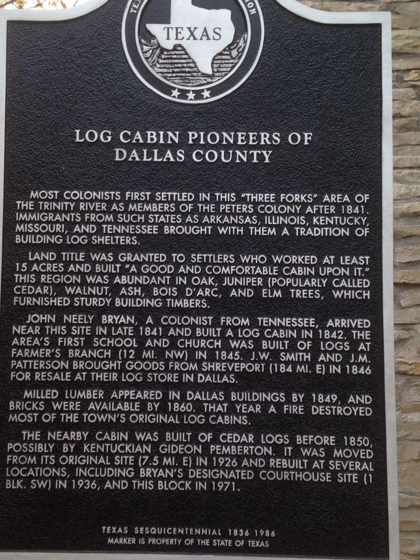 log cabin pioneers of dallas county dallas texas pinterest