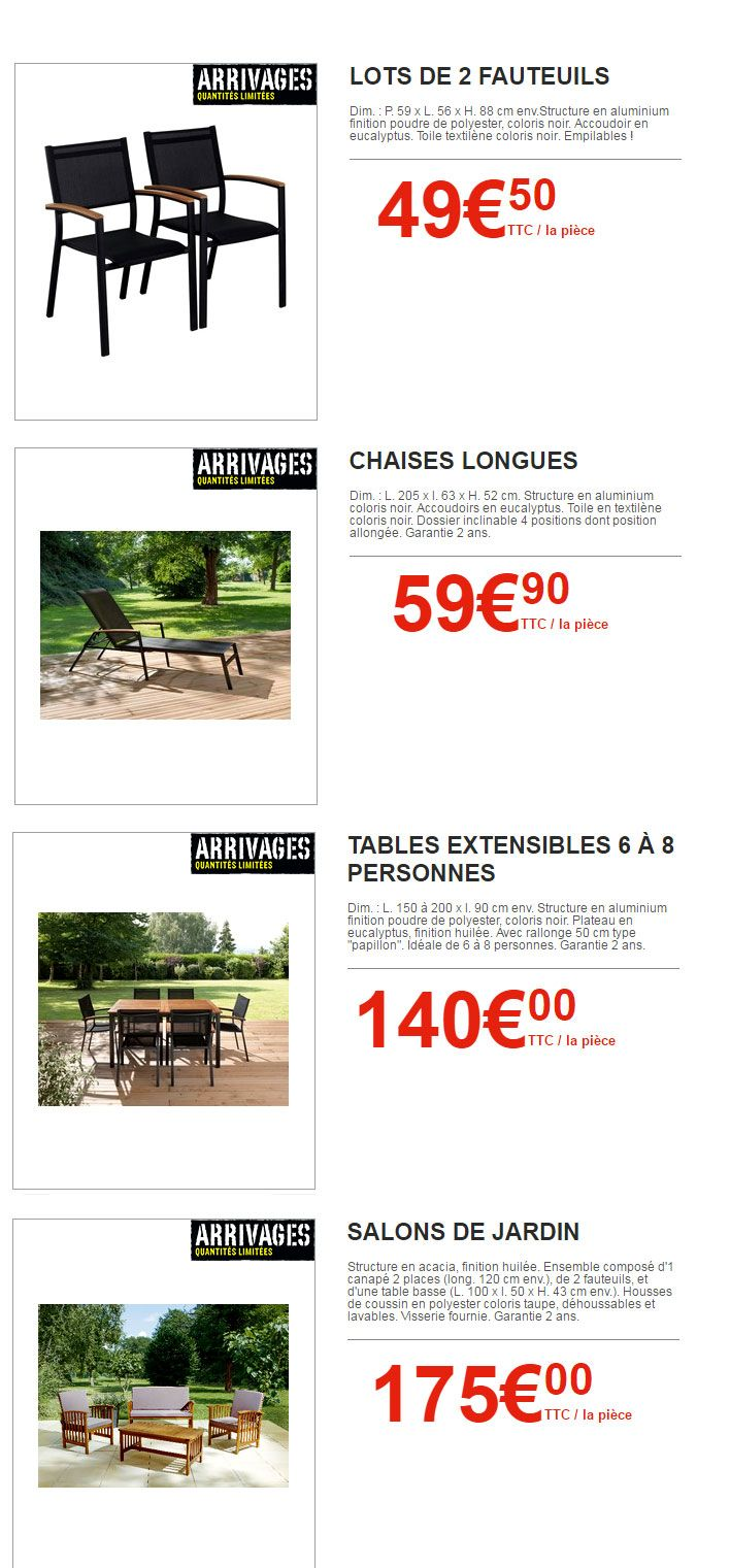 Arrivages Brico Depot Les Incroyables Affaires Mobilier Jardin Salon De Jardin Jardins