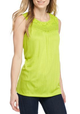 Kim Rogers Women's Sleeveless Crinkle Tee Shirt - Lime Pop - Xl