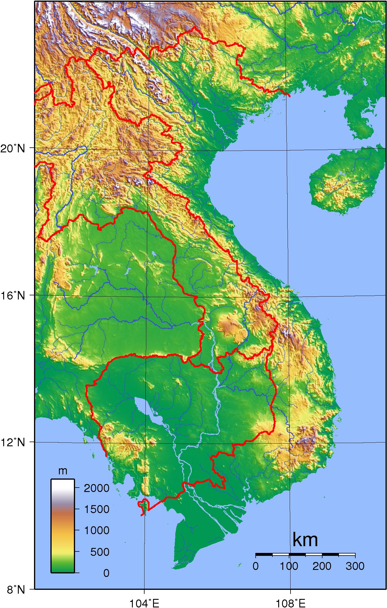 Vietnam Topography Map