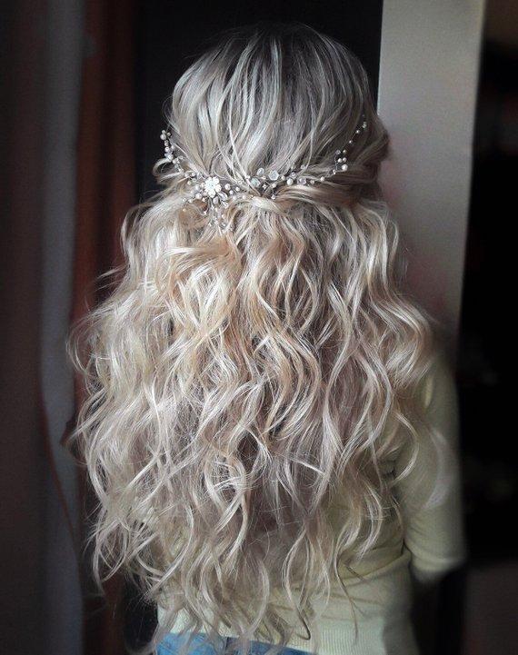 Wedding hair accessories, Bridal Wreath, Bridal Headpiece, Bridal Hair Vine, Crystal Pearl Wedding Hairpiece, Wedding hair vine, Hairpiece