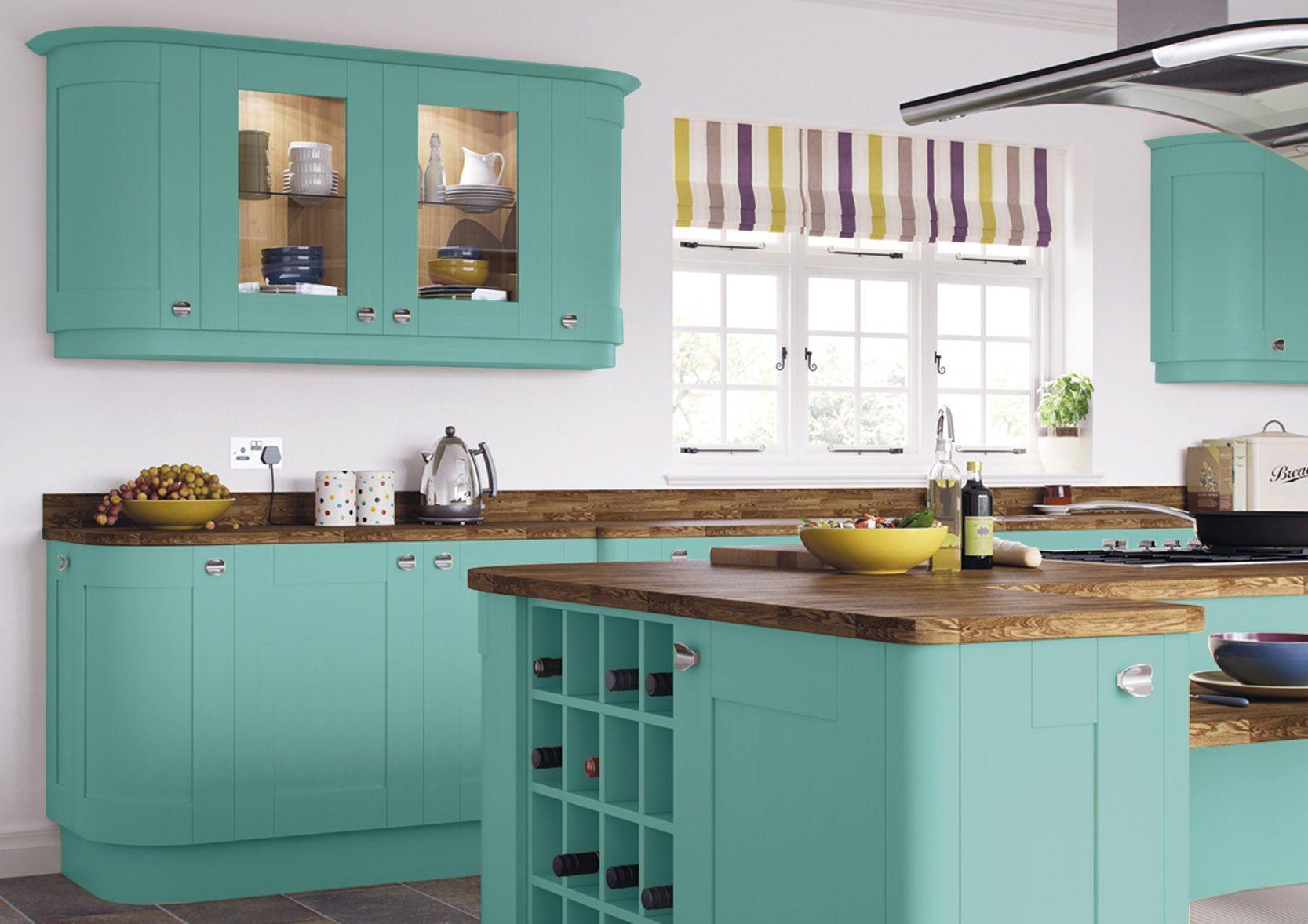 Ballroom Blue Roma Shaker Painted Kitchen Cupboard Doors At Kitchen Warehouse Uk Fast Uk Delivery Bro Green Country Kitchen Green Kitchen Green Kitchen Decor