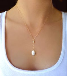 Freshwater Pearl Necklace For Women, Dainty Teardrop Pearl Y Necklace, Simple Bridal Lariat Silver, Bridesmaid Jewelry Gift Rose Gold