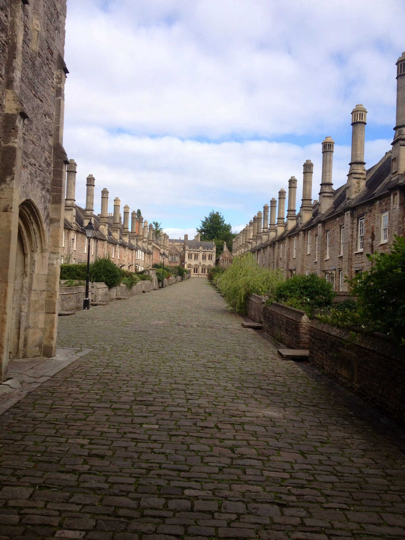 Wells Somerset UK Cobbled Street Built In The 1300s Very Near Cathedral