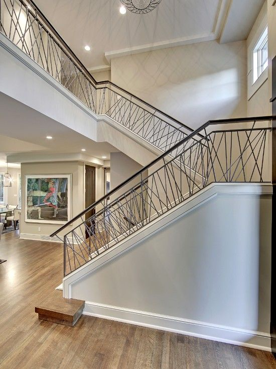 Best Contemporary Stair With Hand Railing Transitional 400 x 300