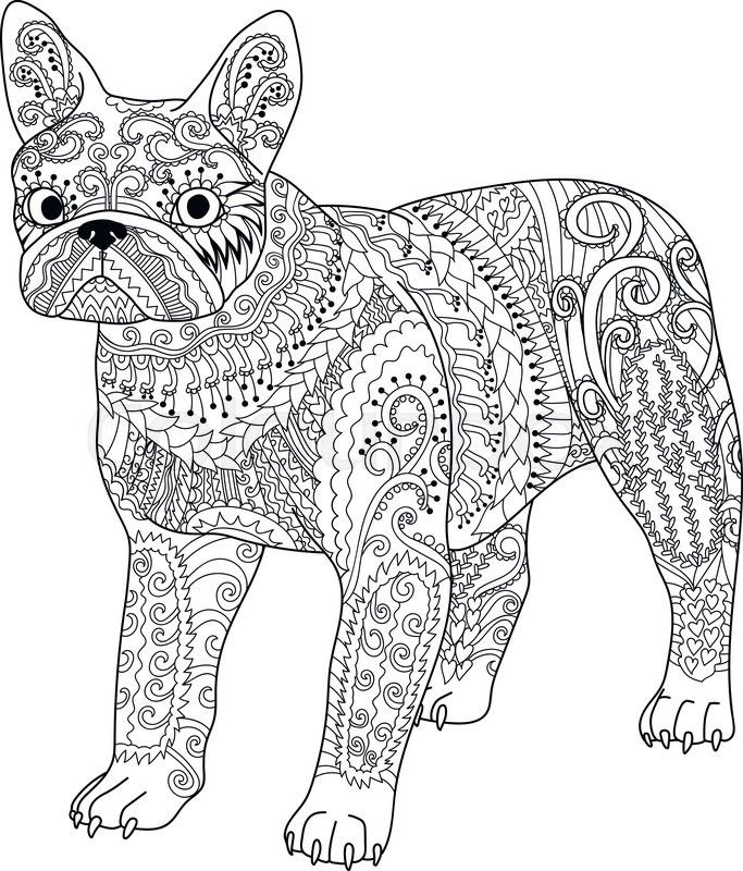 Stock vector of 'High detail patterned french bulldog in ...