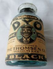 Very Rare DYO Black Shoe Polish Bottle Original Label-Thomsen  Co Waco, Tx