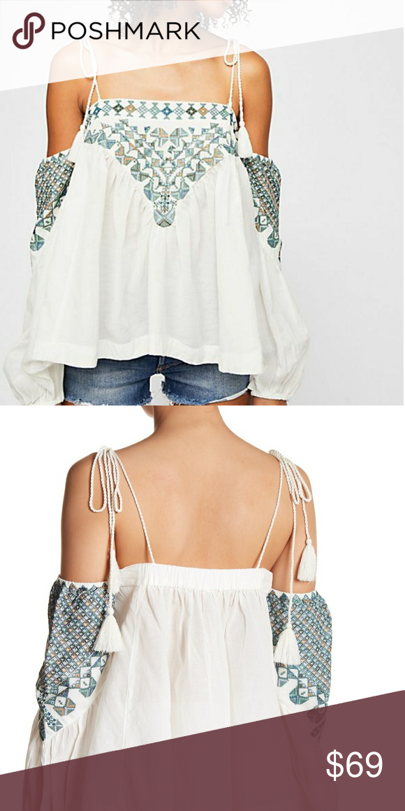 Free People Cold Shoulder Vacay Vibin Top S Embroidered Peasant Tassel Blouse