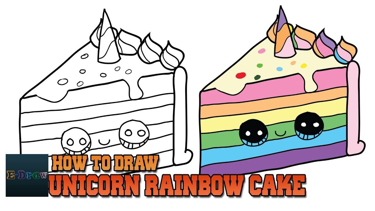How To Draw A Unicorn Rainbow Cake Slice Easy And Cute Step By