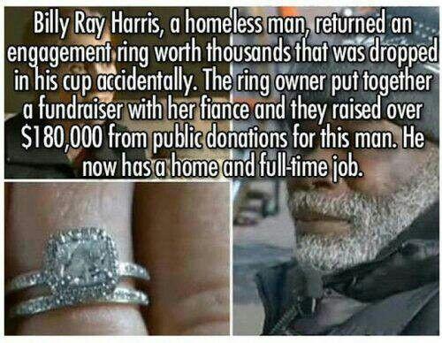 Homeless man returns diamond ring.