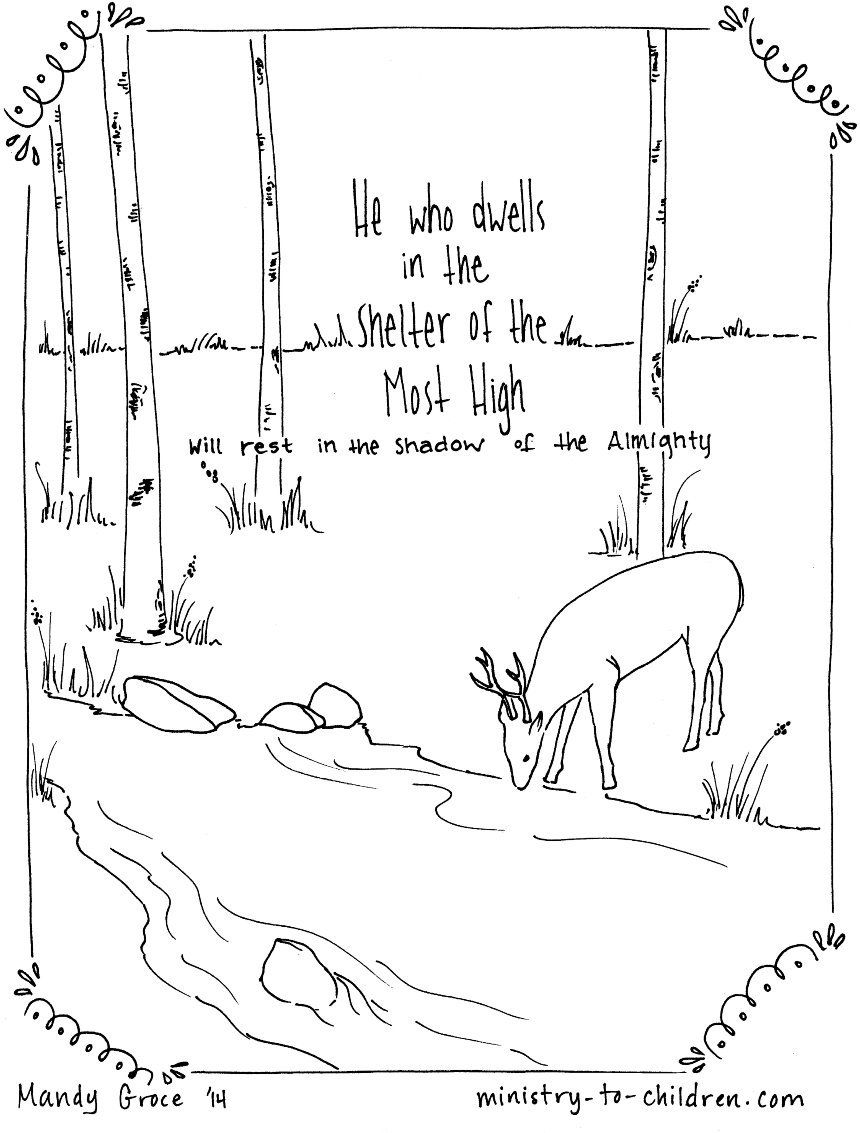 Psalm 911 Coloring Page He Who Dwells In The Shelter Of Most High