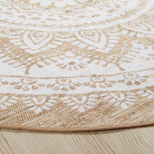 best quality dirt cheap superior quality Tapis rond en jute et coton blanc D180 | Jute carpet, Round ...