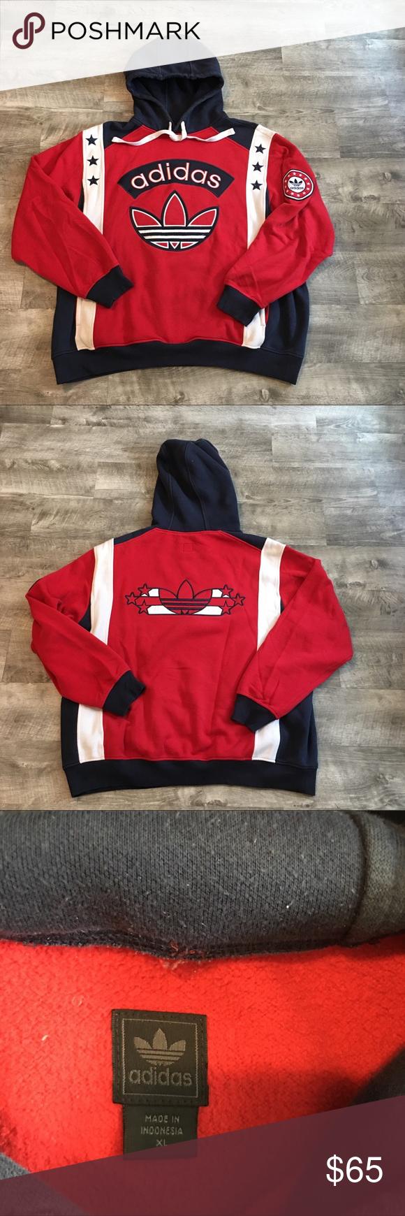 Adidas retro stars stripes trefoil hoodie size xl adidas retro