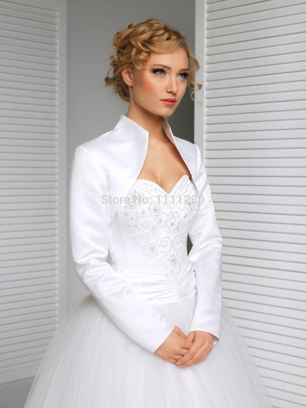 New Bridal Satin Jacket Wrap Wedding Shrug Long Sleeve Bolero DS0608 ...