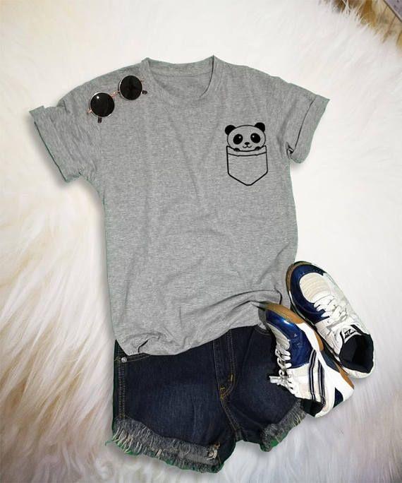 9bf90e40078 Panda Pocket Tee Panda Shirt Funny Saying Trendy Gray Fashion Women Teen  Girl Shirt Graphic Tee Unis
