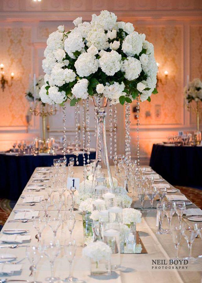 Stunning White Crystal Reception Centerpiece Wedding Flowers