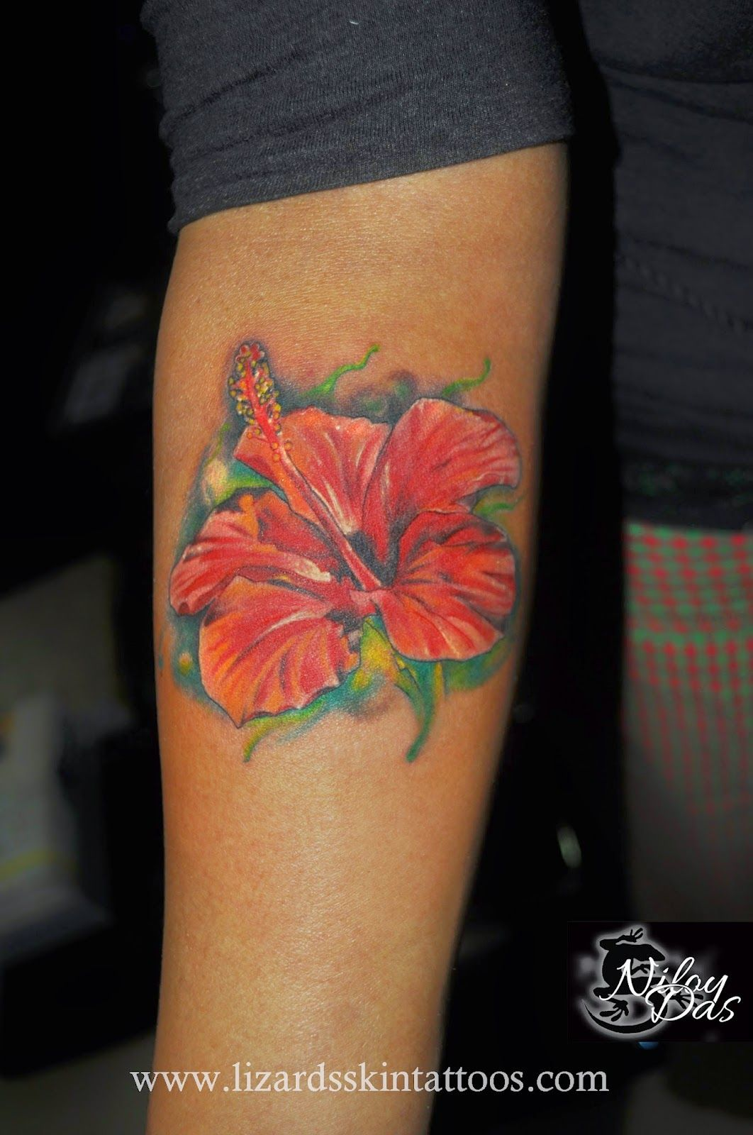 24 Hibiscus Flower Tattoos Designs Trends Ideas: Hibiscus Flower Tattoo By Artist Niloy Das, India