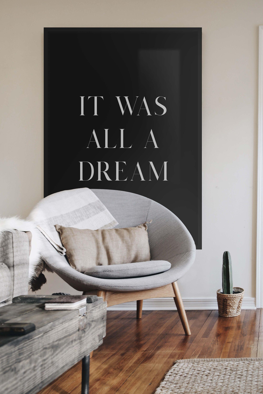 It Was All A Dream Biggie Smalls Poster Juicy Hip Hop Art Etsy Minimalist Living Room Living Room Designs Minimalist Home Decor
