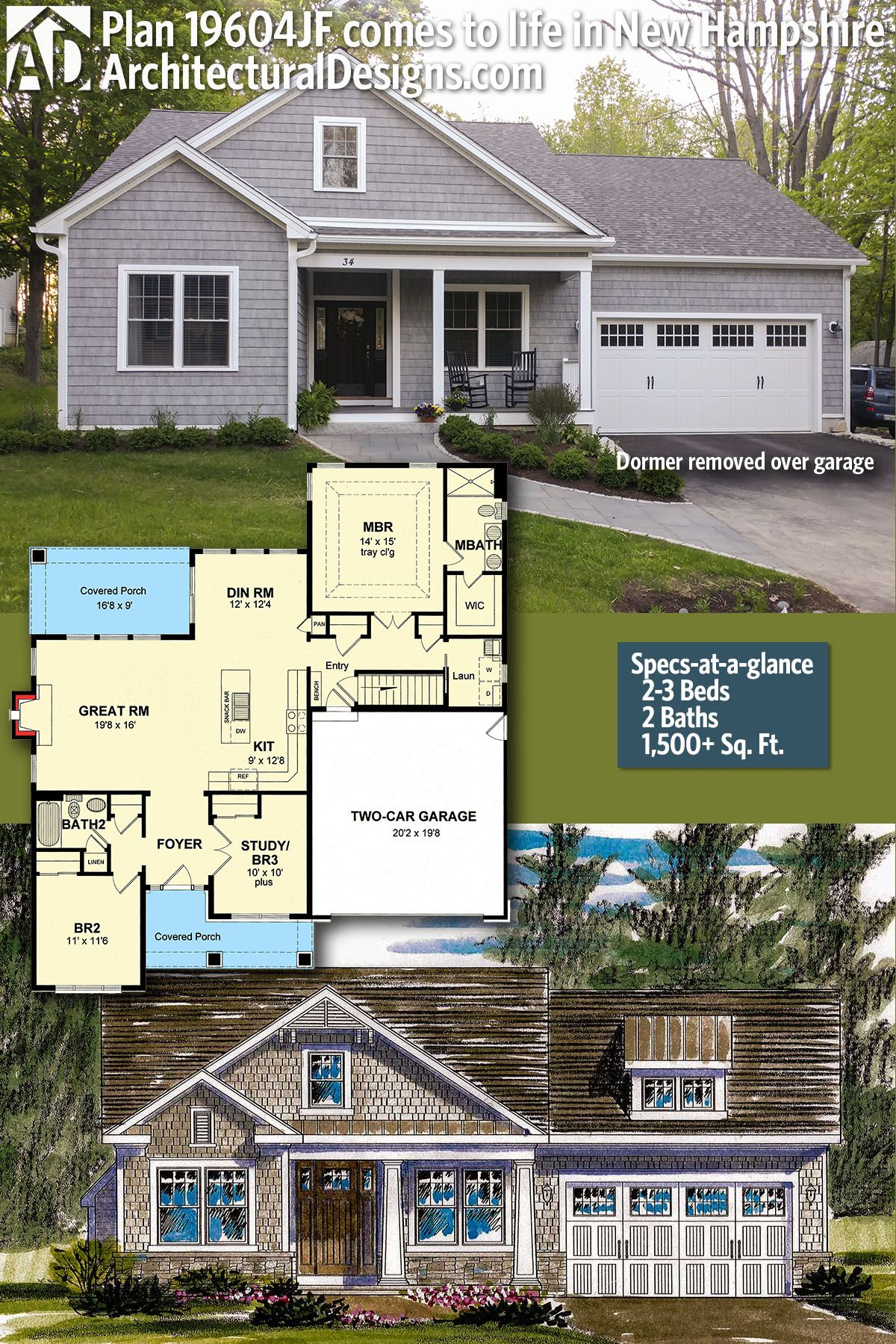 Plan 19604jf Shingle Style House Plan With Open Layout Architectural Design House Plans House Plans Farmhouse Ranch House Plans