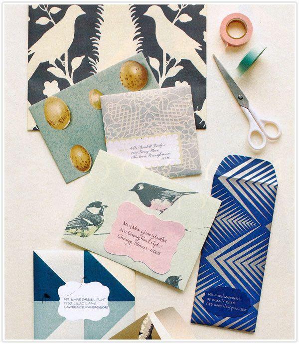 DIY envelopes (LOVE the blue one)