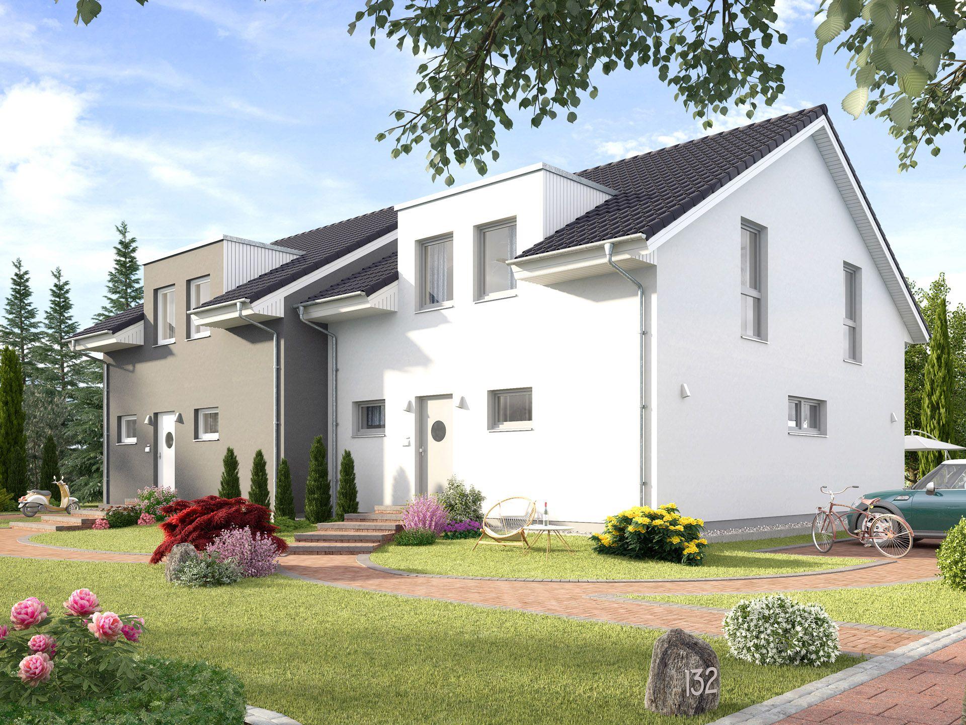Generationshaus progeneration 132 • doppelhaus von prohaus • fertighaus mit zwei gleich großen wohneinheiten und geteilten