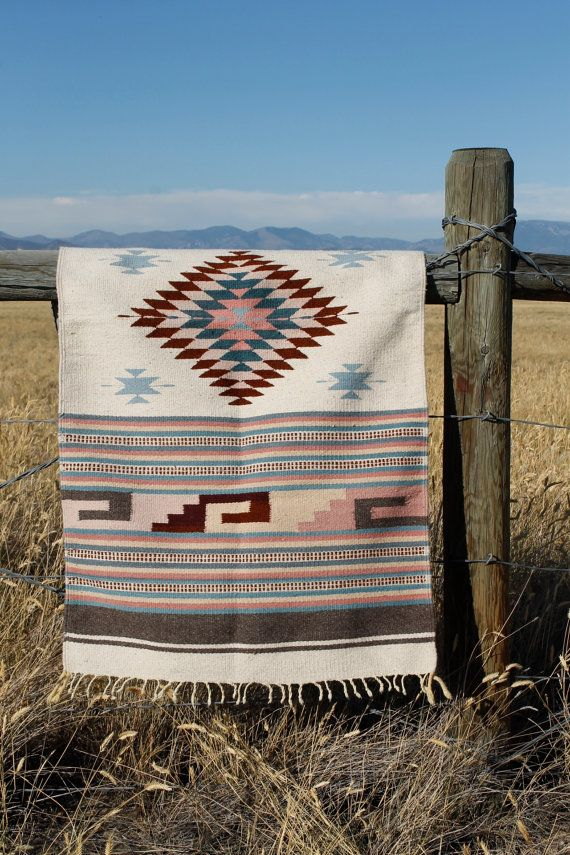 Vintage Wool Navajo Style Saddle Blanket Or Rug Woven