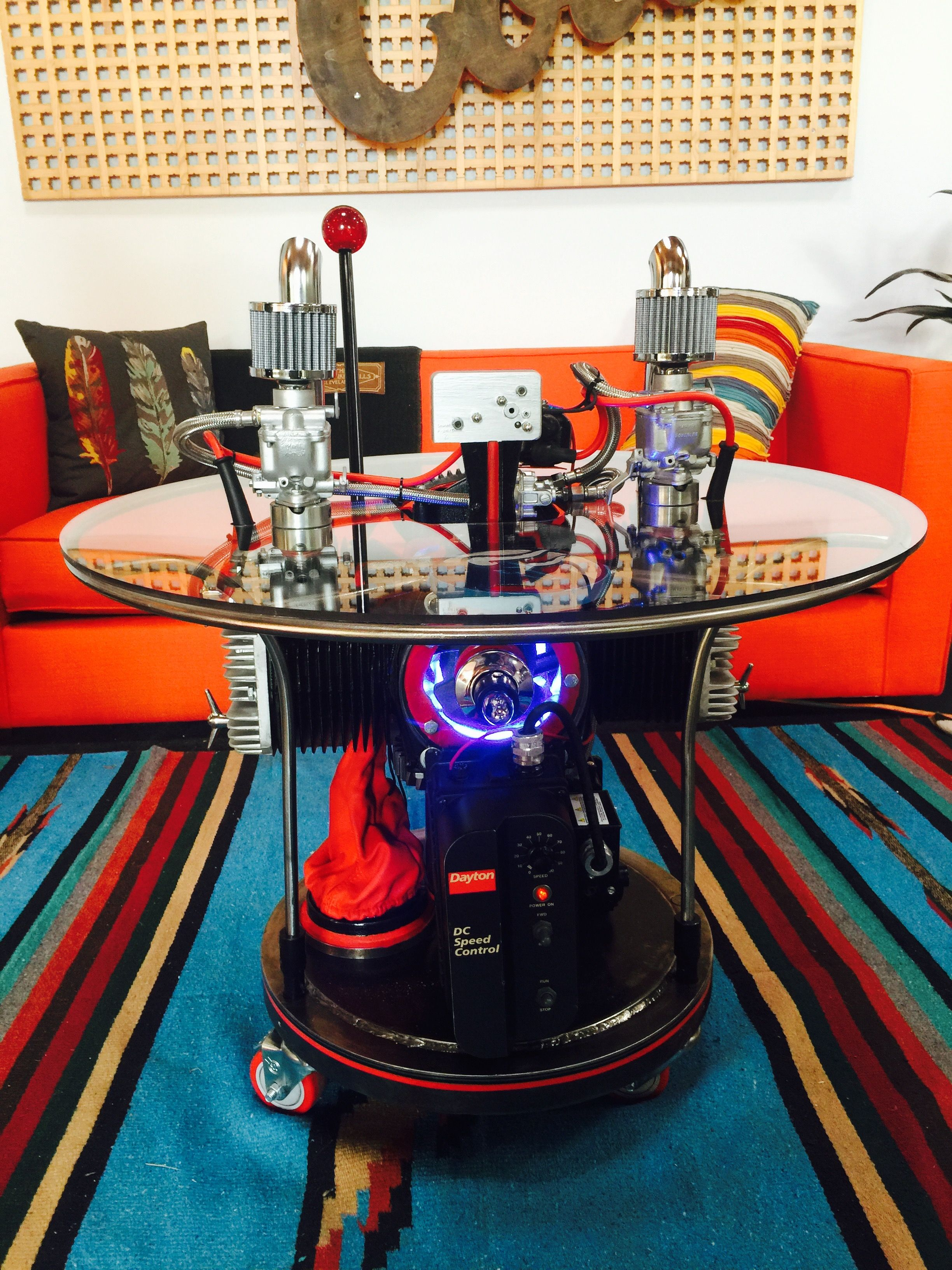 Engine Table Metal Art Assemblage Welded Functional