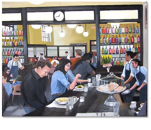 """Raymond's,"" 2011 16 x 20"" oil on canvas Scenes of Montclair NJ by artist Donald Felber"