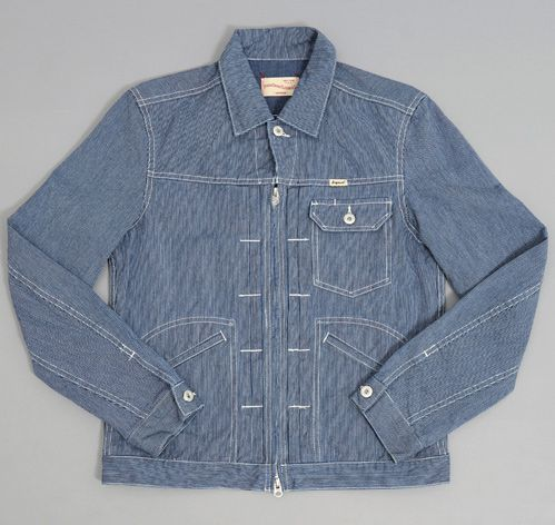 "Fingers Crossed ""QM2"" Jean Jacket, Hickory Stripe, via Hickoree's"