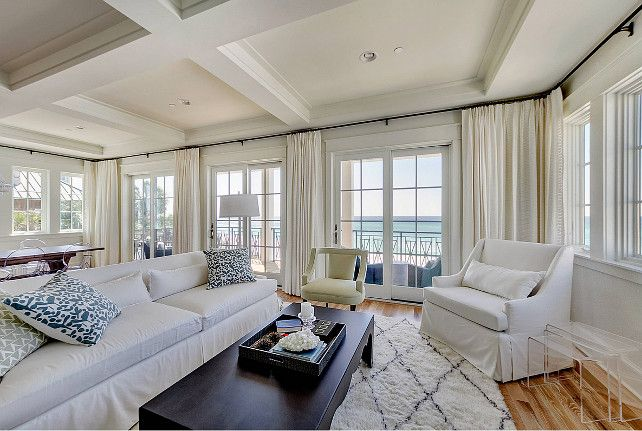 Living Room Coastal With Slipcovered Sofa And Pillows