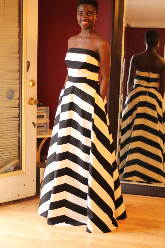 6c5b9372fb74 Black and white (also Blue and green) Striped Dress, Long dress, strapless  with two deep side pockets, Custom made for your measurements