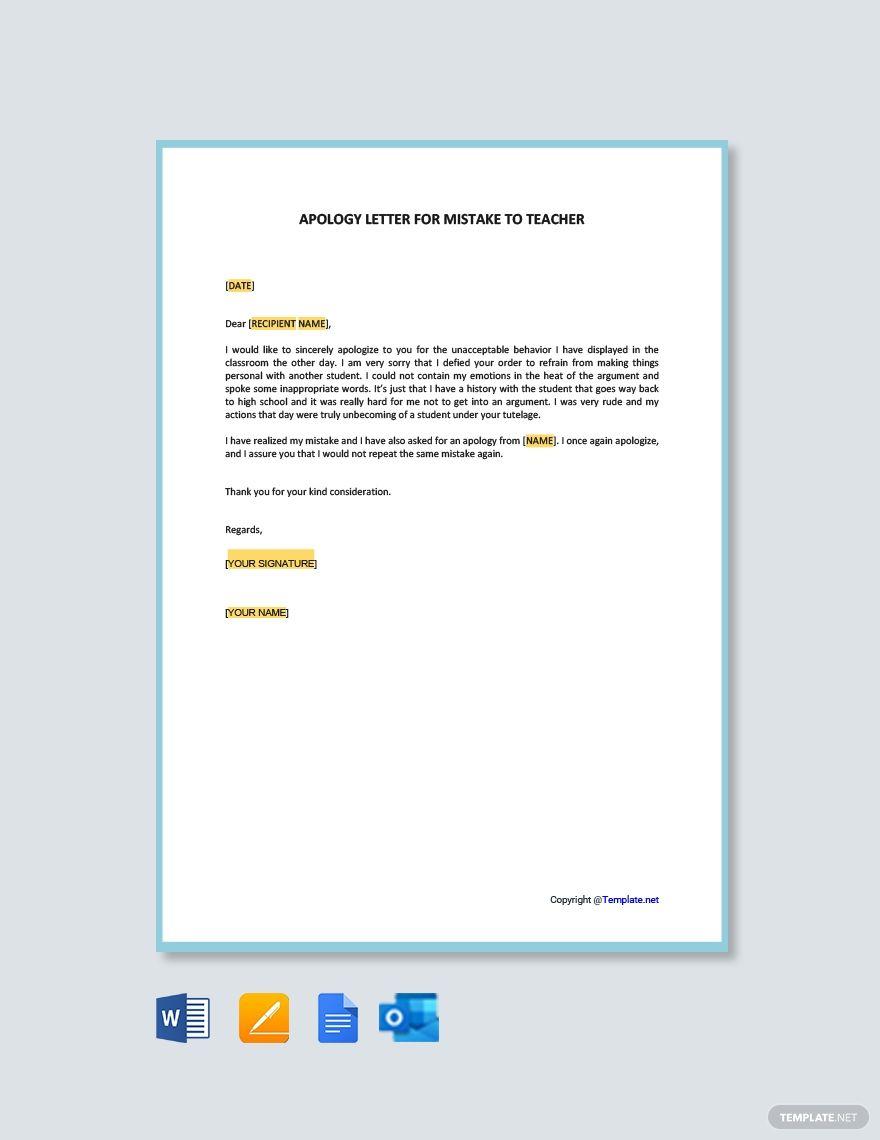 Free Apology Letter For Mistake To Teacher Lettering Teacher