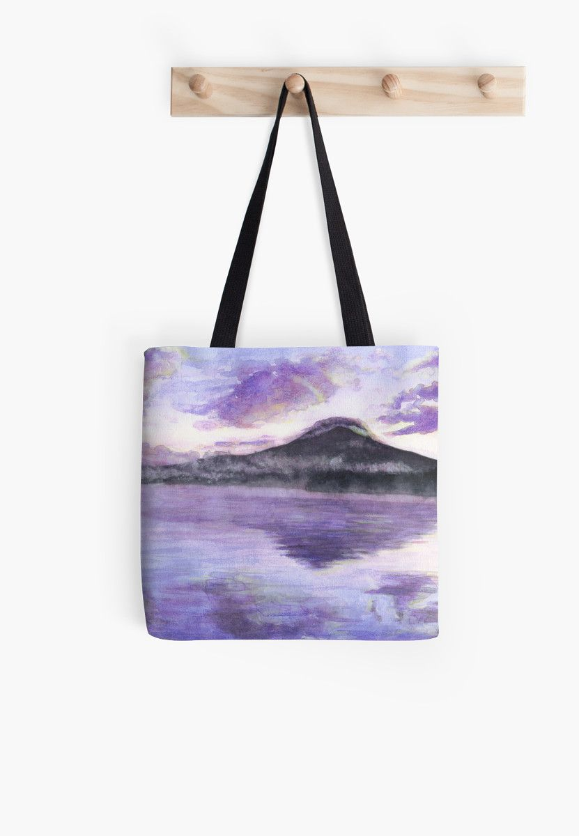 """Mount Fuji"" Tote Bag by Savousepate on Redbubble #totebag #bag #watercolor #painting #japan #japanese #landscape #purple #mauve"