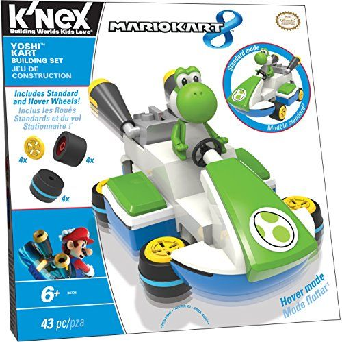 K Nex Mario Kart 8 Yoshi Kart Building Set 8 57 Bring Mario Kart To Life With This 43 Piece Set Build Yoshi S Kart In Standard Or Hover Style Includes Builda