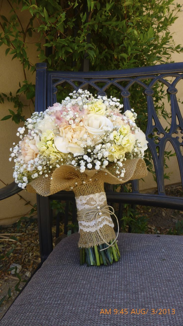 Soft colors. LOVE. Bouquet wrapped in burlap **especially** loving the skirting. Love the flowers too.