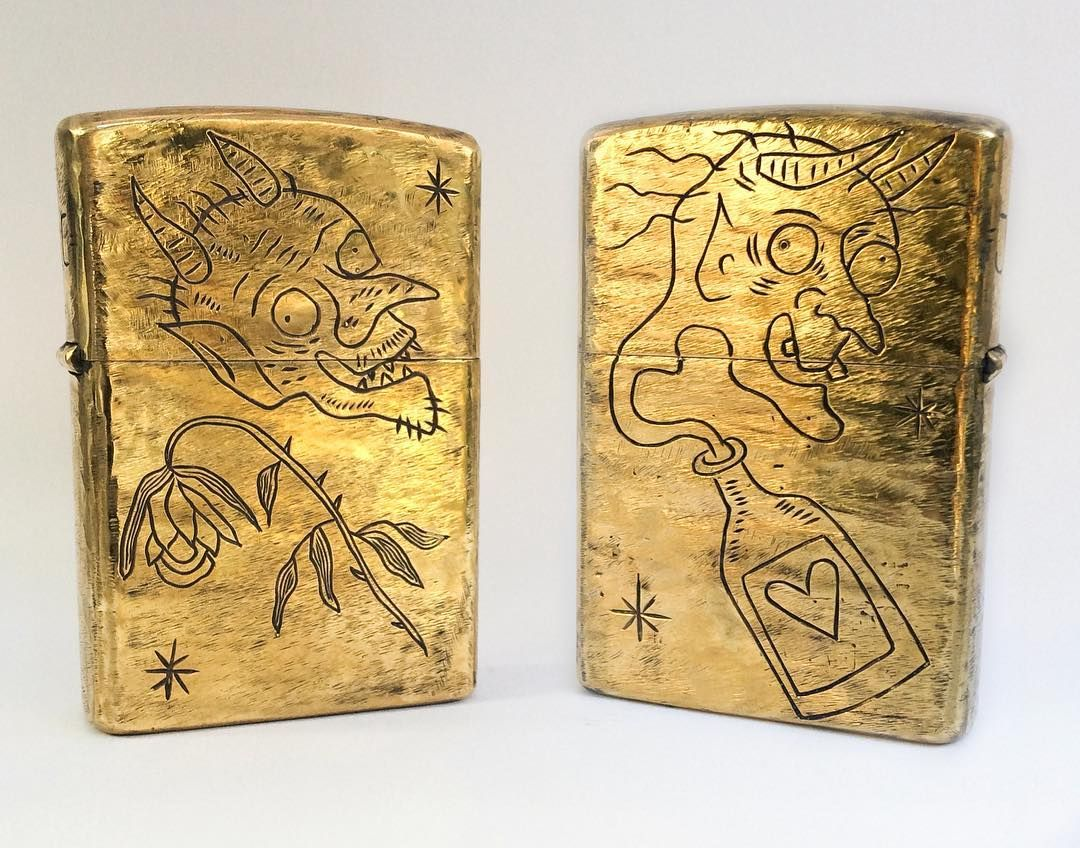 Vintage Zippo Drawing By Marcellatattoos Engraved By Juliocuellarhandmade Zippo Lighter Custom Jewelry Hand Made Jewelry