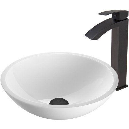 Vigo Flat Edged White Phoenix Stone Vessel Sink and Duris Faucet Set, Matte Black