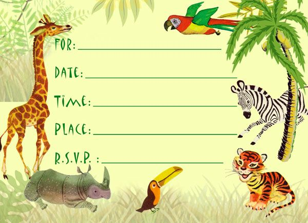 Safari Birthday Invitations Free Printable