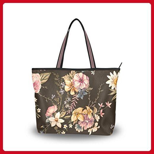 da436b166174 Women Large Tote Top Handle Shoulder Bags Leaf Flower Tropical ...