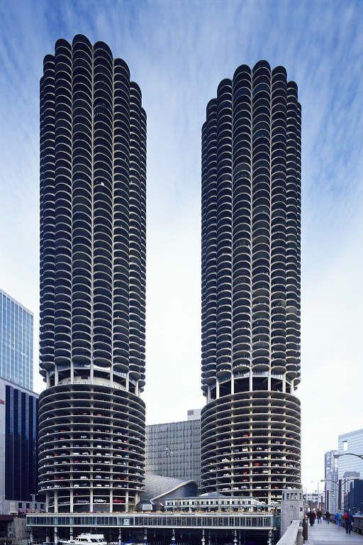 Iconic Marina City High Rise Modern Apartment Towers 8x10 Photo Chicago Illinois