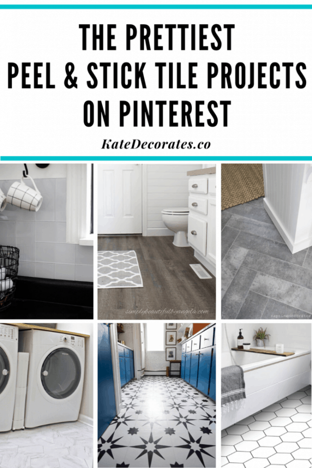 The Best Peel And Stick Vinyl Tile Projects On Pinterest Kate Decorates In 2020 Vinyl Tile Tile Projects Peel And Stick Vinyl
