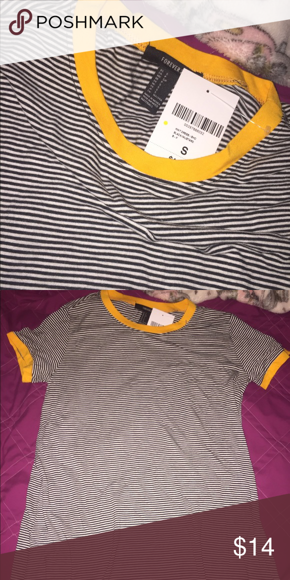 Forever 21 striped t shirt dress Yellow mustard color Never worn! Brand new  with tags! 💛 Really cute but was too long on me. (I m very short) 5 0  exactly. 4dd7aced0263